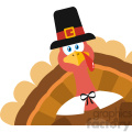 Pilgrim Turkey Bird Cartoon Mascot Character Peeking From A Corner Vector Flat Design