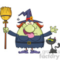 Happy Witch Cartoon Mascot Character Holding A Broom With Black Cat Vector