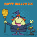 Happy Witch Cartoon Mascot Character Holding A Broom With Black Cat Vector With Halftone Background And Text Happy Halloween