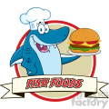 chef blue shark cartoon holding a big burger over a ribbon banner vector with text fish foods  gif, png, jpg, eps, svg, pdf