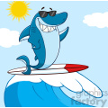 clipart smiling blue shark cartoon with sunglasses surfing and waving over wave vector with background gif, png, jpg, eps, svg, pdf