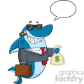 smiling business shark cartoon in suit carrying a briefcase and holding a money bag vector illustration with speech bubble gif, png, jpg, eps, svg, pdf