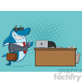 royalty free rf clipart smiling business shark cartoon holding a thumb up by an office desk vector  with blue halftone background gif, png, jpg, eps, svg, pdf