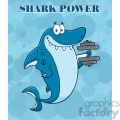 smiling blue shark cartoon training with dumbbell vector vector with blue water background and text shark power gif, png, jpg, eps, svg, pdf