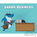 smiling business shark cartoon holding a thumb up by an office desk vector with blue halftone background and text shark business gif, png, jpg, eps, svg, pdf