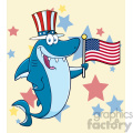 clipart happy blue shark cartoon with patriotic hat holding an american flag vector with stars background gif, png, jpg, eps, svg, pdf
