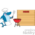chef blue shark cartoon licking his lips and holding a spatula by a barbeque with roasted burgers to wooden blank board with text menu vector illustration gif, png, jpg, eps, svg, pdf