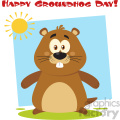 cute marmot cartoon character vector flat design with background and text happy groundhog day  gif, png, jpg, eps, svg, pdf