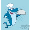 clipart chef blue shark cartoon holding a platter vector with blue halftone background  gif, png, jpg, eps, svg, pdf