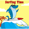 Smiling Blue Shark Cartoon With Sunglasses Surfing And Waving Vector With Background And Text Surfing Time