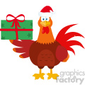 Santa Rooster Bird Cartoon Holding Gifts Vector Flat Design
