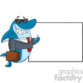 smiling business shark cartoon in suit carrying a briefcase and holding a thumb up to blank board vector gif, png, jpg, eps, svg, pdf