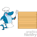 chef blue shark cartoon licking his lips and holding a spatula to wooden blank board vector  gif, png, jpg, eps, svg, pdf