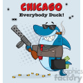 10415 Smiling Shark Gangster Cartoon Carrying A Briefcase Holding A Big Gun And Smoking A Cigar Vector With Gray Halftone Background And Text Chicago