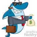Smiling Business Shark Cartoon In Suit Carrying A Briefcase And Holding A Money Bag Vector