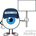 Blue Eyeball Cartoon Mascot Character Security Guard Holding Up A Blank Sign Vector