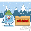 cute little yeti cartoon mascot character with hat pointing to a welcome wooden sign vector with winter background gif, png, jpg, eps, svg, pdf