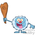 Crazy Little Yeti Cartoon Mascot Character Holding Up A Club Vector