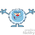 Smiling Little Yeti Cartoon Mascot Character With Open Arms For Hugging Vector