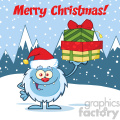 smiling little yeti cartoon mascot character with santa hat holding up a gifts vector over snow montains background with text merry christmas gif, png, jpg, eps, svg, pdf