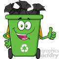 Happy Green Recycle Bin Cartoon Mascot Character Full With Garbage Bags Giving A Thumb Up Vector