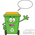 Happy Green Recycle Bin Cartoon Mascot Character Waving For Greeting With Speech Blank Bubble Vector