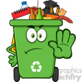 Angry Green Recycle Bin Cartoon Mascot Character Full With Garbage Gesturing Stop Vector