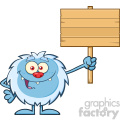 smiling little yeti cartoon mascot character holding up a wooden blank sign vector  gif, png, jpg, eps, svg, pdf