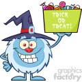 cute little yeti cartoon mascot character with witch hat holding up a trick or treat halloween candy basket vector gif, png, jpg, eps, svg, pdf