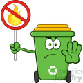 Angry Green Recycle Bin Cartoon Mascot Character Gesturing Stop And Holding A Fire Restricted Sign Vector