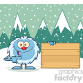Cute Little Yeti Cartoon Mascot Character Pointing To A Wooden Blank Sign Vector With Winter Background