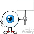 Blue Eyeball Guy Cartoon Mascot Character Holding Up A Blank Sign Vector