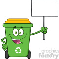 Happy Green Recycle Bin Cartoon Mascot Character Holding Up A Blank Sign Vector