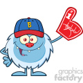 Happy Little Yeti Cartoon Mascot Character With Baseball Hat Wearing A Foam Finger Vector
