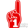 number one imprinted foam hand vector cut file white lines