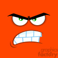 10882 Royalty Free RF Clipart Aggressive Cartoon Funny Face With Angry Expression Vector With Orange Background