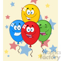 10775 Royalty Free RF Clipart Happy Four Colorful Balloons Cartoon Mascot Character With Expressions Vector With Stars Background