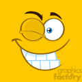 10888 Royalty Free RF Clipart Winking Cartoon Square Emoticons With Smiling Expression Vector With Yellow Background