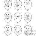 10765 royalty free rf clipart black and white balloons cartoon mascot character with expressions set vector illustration gif, png, jpg, eps, svg, pdf