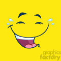 10878 Royalty Free RF Clipart Laugh Cartoon Funny Face With Smiley Expression Vector With Lemon Yellow Background