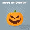 Grinning Evil Halloween Pumpkin Cartoon Emoji Face Character With Expression Vector Illustration Flat Design Style With Background And Text Happy Halloween