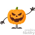 Grinning Evil Halloween Pumpkin Cartoon Emoji Character Waving For Greeting Vector Illustration Flat Design Style Isolated On White Background