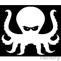 Royalty Free RF Clipart Illustration White Angry Octopus Cartoon Mascot Character Vector Illustration With Black Background