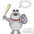 Royalty Free RF Clipart Illustration Angry Gray Bulldog Cartoon Mascot Character Holding A Bat And Pointing Vector Illustration Isolated On White Background With Speech Bubble