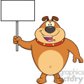 Royalty Free RF Clipart Illustration Happy Brown Bulldog Cartoon Mascot Character Holding A Blank Sign Vector Illustration Isolated On White Background