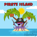 Royalty Free RF Clipart Illustration Angry Pirate Octopus Cartoon Mascot Character With A Sword Gun And Hook On A Tropical Island Vector Illustration With Background And Text Pirate Island