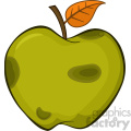 Royalty Free RF Clipart Illustration Rotten Green Apple Fruit With Leaf Cartoon Drawing Simple Design Vector Illustration Isolated On White Background