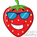 Royalty Free RF Clipart Illustration Smiling Strawberry Fruit Cartoon Mascot Character With Sunglasses Vector Illustration Isolated On White Background
