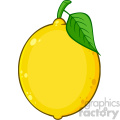 Royalty Free RF Clipart Illustration Yellow Lemon Fresh Fruit With Green Leaf Cartoon Drawing Vector Illustration Isolated On White Background