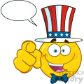 Happy Patriotic Yellow Cartoon Emoji Face Character Wearing A USA Hat And Pointing With Speech Bubble
